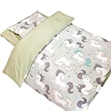 Unicorn 3-Piece Crib Bedding Set, Womdee Crib Sheet Crib Instagram Style Bedding Set, 100% Organic Cotton Crib Sheets, 100% Polyester Reversible Comforter and Shaped Cushion