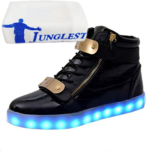 (Present:small towel)JUNGLEST® 7 Colors Led Trainers High Top Light Up Shoes For Unisex Mens and Unisex Black