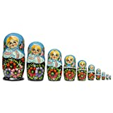 11'' Set of 10 Girls in Blue Scarf and Embroidered Blouses Russian Nesting Dolls