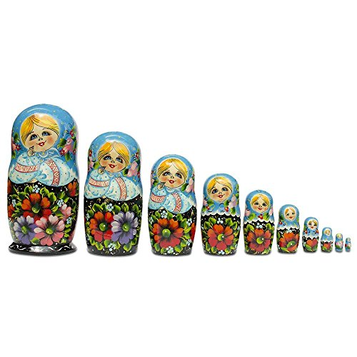 11'' Set of 10 Girls in Blue Scarf and Embroidered Blouses Russian Nesting Dolls by BestPysanky