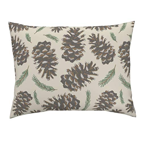 Roostery Pine Cones Standard Knife Edge Pillow Sham Pine Cones Woodland Brown Green White Pine Cones Pine Trees Trees Cabin Rustic Mountain by Christina Steward 100% Cotton - Sham Standard Christina