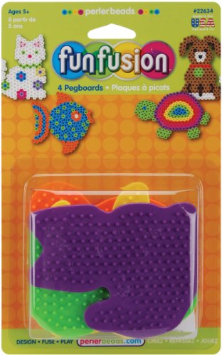 Perler Fun Fusion Pegboards 4/Pkg-Dog/Fish/Cat/Turtle