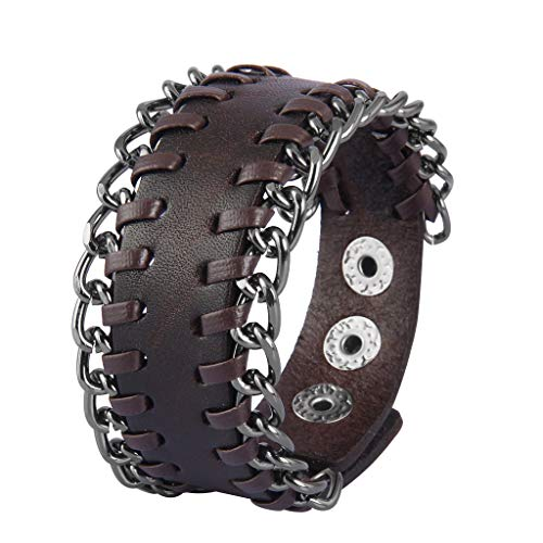 Jenia Hard Rock Leather Cuff Bracelet Cool Handmade Braided Metal Bracelets Adjustable Punk Leather Wristbands for Men, Women, Boy, Girl