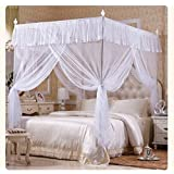 KingKara White Pink Purple Princess 4 Corners Post Bed Curtain Canopy Mosquito Netting Twin XL, FULL/QUEEN, California King Size (Full/Queen, White)