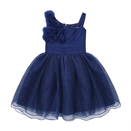 iiniim Baby Girl Sparkling Rose Flower Ruffle Layers Baptism Dress Wedding Pageant Party Christening Gown Navy Blue 12-18 Months]()