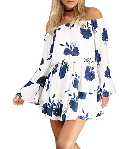 Strapless Bell Sleeve Floral Print Off the Shoulder Dress for Women (US 4, White and Blue)