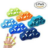 Finger Stretcher,Finger Resistance Bands Finger Grip Exerciser Strengtheners Trainer for Forearm Exercise/Guitar Finger Strengtheners/Rock Climbing Grips 6 Set For Sale