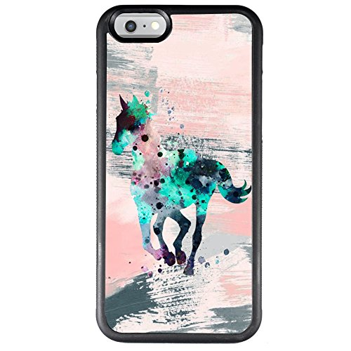 Case iPhone 6s 6 Watercolor Horse ChyFS Phone Case TPU Black Protective Case ()
