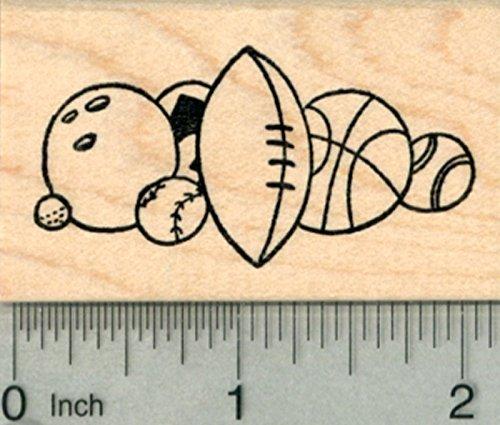 Sports Border Rubber Stamp, Bowling, Golf, Baseball, Football, Basketball, Tennis