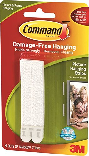 3M 1240969 Narrow Picture Hanging Strip 3 Lbs - Foam White (Pack of 36) by Generic