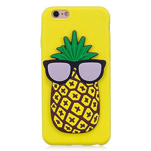 iPhone 6 / 6S Plus Hülle , Leiai 3D Ananas Leicht TPU Weich Tasche Schutzhülle Silikon Etui Handyhülle Stoßdämpfende Schale Fall Case Shell für Apple iPhone 6 / 6S Plus