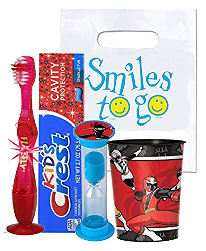 Power Rangers Ninja Steel Inspired 4pc Bright Smile Oral Hygiene Bundle! Light Up Toothbrush, Toothpaste, Brushing Timer & Mouthwash Rise Cup! Plus Dental Gift Bag &Remember to Brush Visual Aid! ()