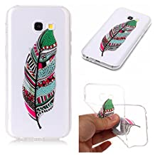 Samsung Galaxy A5 2017 Case,Samsung Galaxy A520 Case Shockproof Rubber,Gostyle Flexible Transparent Soft TPU Slicone Green Feather Pattern Scratch Resistant Ultra Slim Fit Back Cover