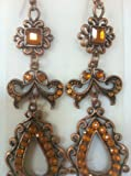 "Vintage Style, Princess Jasmine Halloween Costume Accessory, Ear Jewelry, Earrings, Bronze Yellow, 3"" Long"