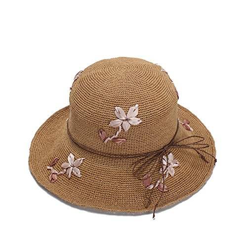 Collapsible Snap straw hat female Embroidered dome fisherman cap travel sun protection (Embroidered Safari Hat)