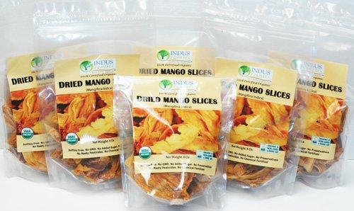 Indus Organic 100% Dried Mango Slices, 48 Oz (6 bags of 8 Oz), Raw, Sulfite Free, No Added Sugar, Freshly Packed
