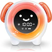 OYRGCIK Kids Alarm Clock Children Sleep Trainer with Rechargeable Battery USB Charger Night Light Clock with 7 Colors Changing Lights 4 Rings for Toddlers Girls Boys Bedroom Teach Time to Wake, Orange