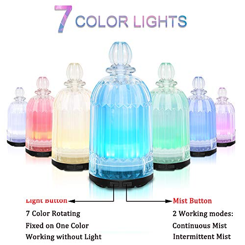 COSVII 120ML Glass Oil Diffuser Ultrasonic Aromatherapy diffuser for Essential Oils with 7-color LED Lights, Automatic Shut-off Function (Black Bottom)