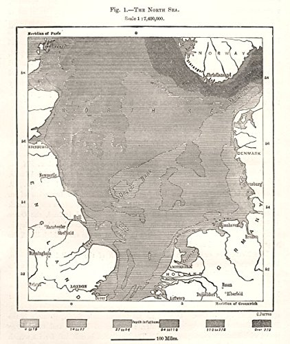 North Sea Europe Map.Amazon Com The North Sea Depths Europe Sketch Map 1885 Old