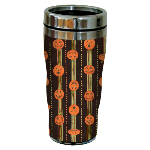 Tree-Free Greetings 77223 Pumpkin Stripes by Debbie Mumm Sip 'N Go Travel Tumbler, 16-Ounce, Stainless (Halloween Insulated Tumblers)