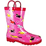 Childrens Smoky Mountain Show Horse Rain Boots, Pink/Hot Pink Trim T - 7, 8; CH-9-3