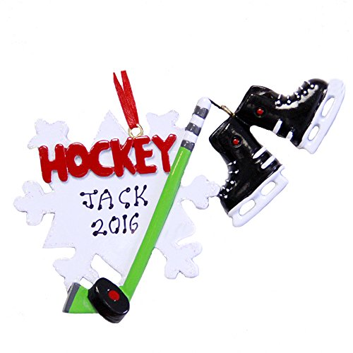 Personalized Sports Hockey Christmas Holiday Handwritten Ornament-Free ()