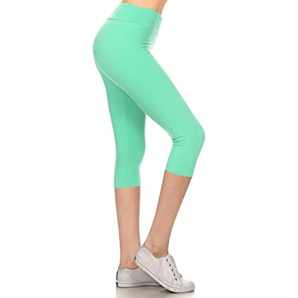 0c8508f18c Leggings Depot Women's Yoga Gym High Waist Reg/Plus Solid and Printed  Workout Capri Leggings Pants 16+Colors (Mint, One Size (Size S-L/Size 2-12))