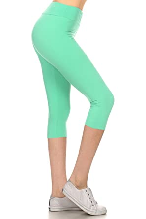 b50391da6aa0c Leggings Depot Higher Waist Women s Buttery Soft Solid Yoga Capri ...