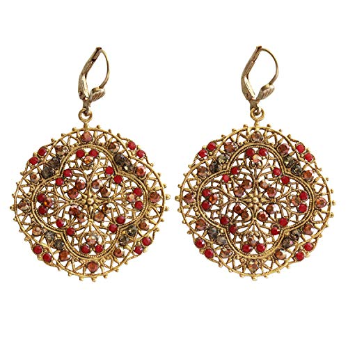 - Catherine Popesco Goldtone Filigree Medallion Crystal Earrings, Sunset Red Spice 4389G