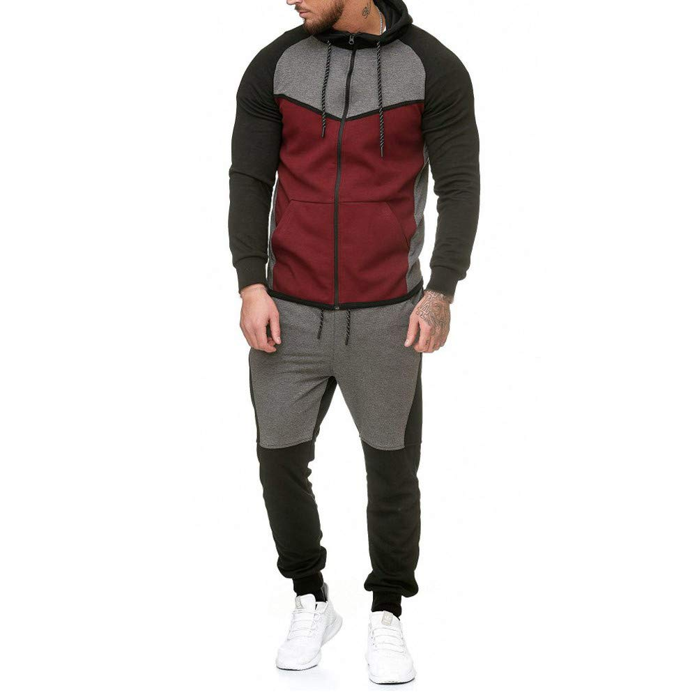 Fxbar,Men's Sweatshirt Patchwork Top Pants Sets Sports Suit Winter Jackets(Red,XXL) by Fxbar
