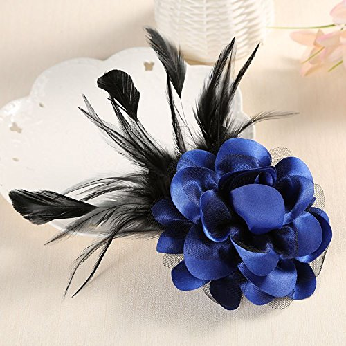 (Professional grade fabric corsage brooch shoulder flower corsage flowers men women presided over opening performance accessories headdress feathers)