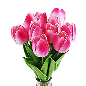 Decora 10Pcs/Bag High Quality PU Holland Mini Tulip Artificial Flower Real Touch for Wedding,Room,Home,Hotel,Party Decoration and Holiday Gift 2