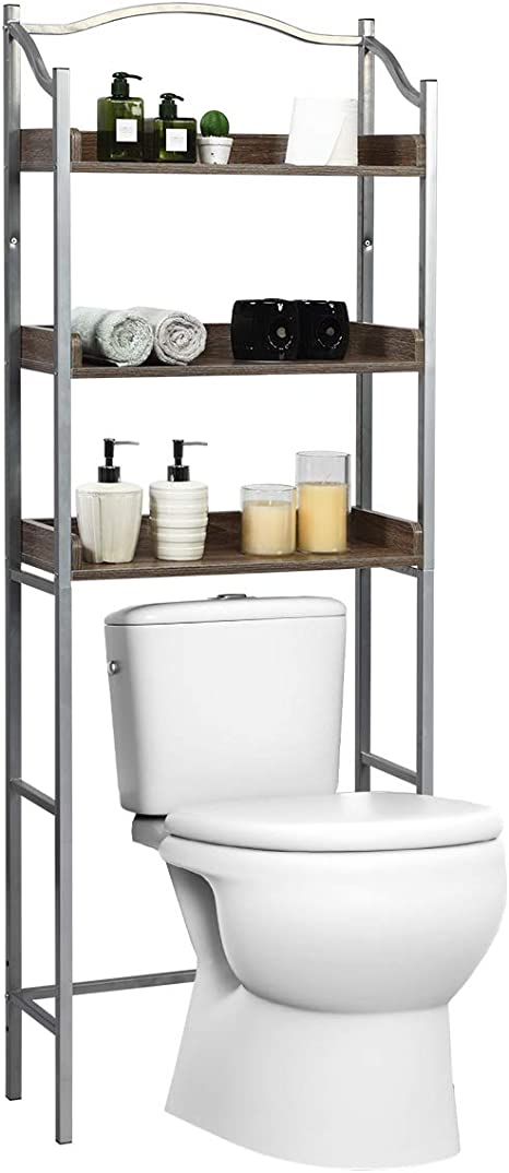 Amazon.com: Giantex Over-The-Toilet Spacesaver 3-Tier W/Adjustable Shelves And Sturdy Metal Frame,Easy Assembly Freestanding Bathroom Storage Rack For Bath Essentials Bathroom Organizer Rack(Silver): Home & Kitchen