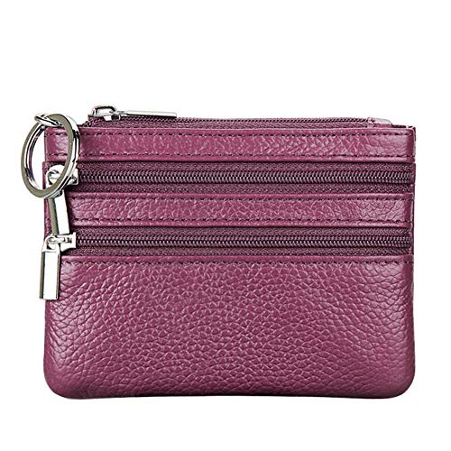 Women's Genuine Leather Coin Purse Mini Pouch Change Wallet with Key Ring,purple