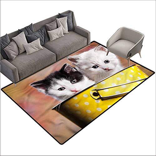 Floor Mat Kitchen Long Carpet Cute,Persian Kitties in a Basket 80