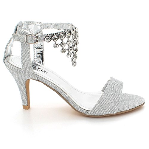 AARZ LONDON Womens Ladies Sparkly Crystal Diamante Gems Evening Wedding Party Bridal Prom High Heel Sandals Shoes Size Silver dMo2r