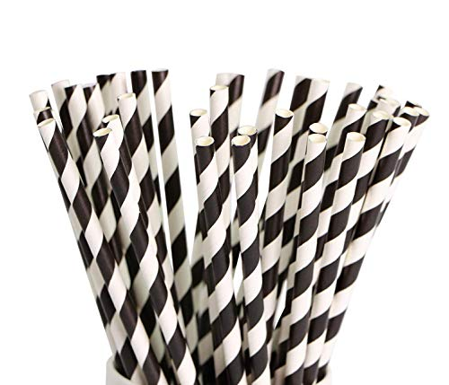Paper Straws 200 Pack Biodegradable Black and White Striped Design 8.25