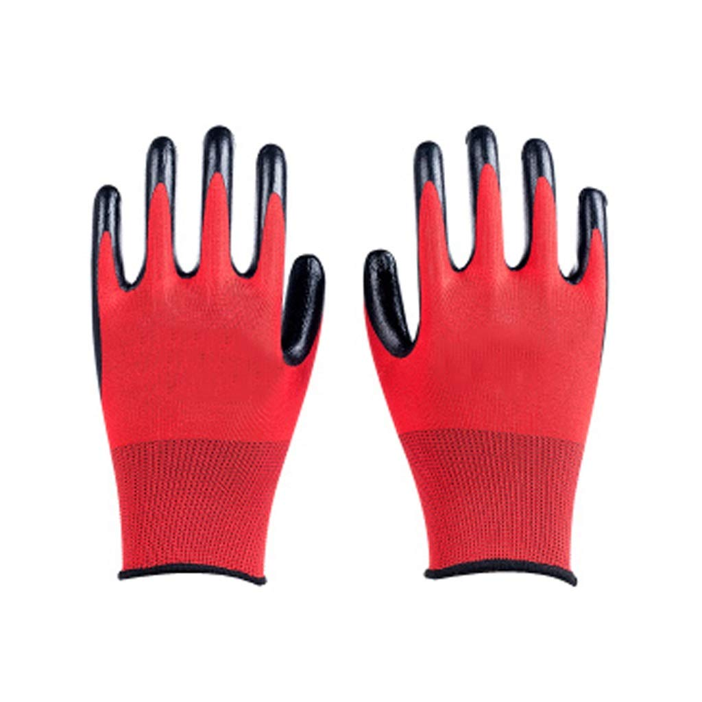 LZRZBH Cut Resistant Work Gloves,Nylon Polyester Liner,Industrial Gloves Superior Breathability, Waterproof Non-Slip Gloves. [12 Pairs] (Color : C)