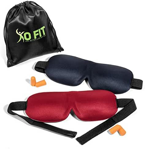 Premium Set Of 2 Sleeping Masks By XO-FIT 3D Contoured Memory Foam Masks & Ear Plugs For Meditation, Shift Workers, Men & Women, Relaxation, Travel & Deep Sleep Comfortable & Lightweight Eye Masks