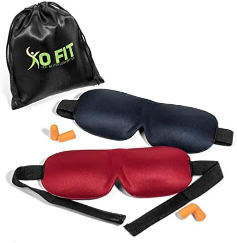 Premium Set Of 2 Sleeping Masks By XO-FIT 3D Contoured Memory Foam Masks & Ear Plugs For Meditation, Shift Workers, Men & Women, Relaxation, Travel & Deep Sleep Comfortable & Lightweight Eye Masks