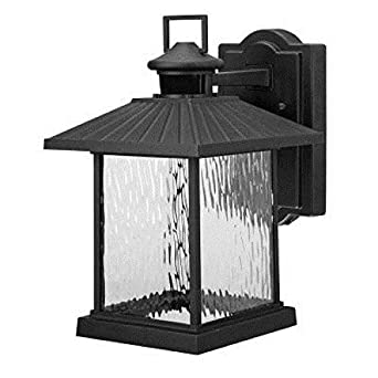 Hampton Bay Lumsden Wall Mount Outdoor Black LED Motion Sensor Lantern