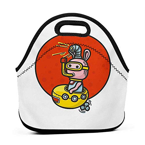 (Tote Waterproof Outdoor Yellow Submarine,Little Alien Cartoon in Spaceship with Periscope over Red Moon Planet Kids,White Red,purse and lunch bag for work)