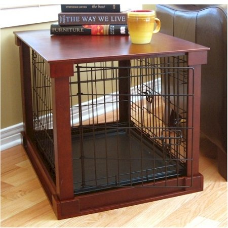 Indoor Wooden Mobile Dog Pet Cage With Crate Cover Side Panels Table Medium by Merry Pet