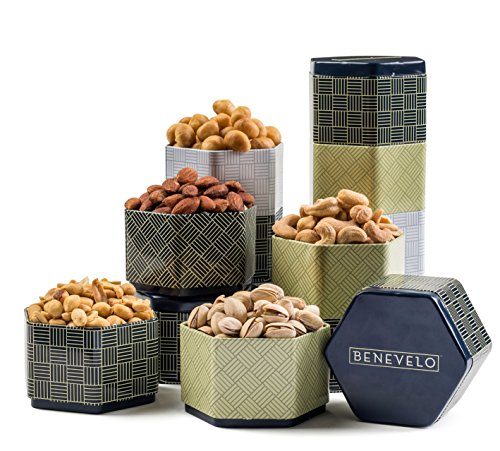 Happy Holiday, Gourmet Salted Nuts Assortment in 5 Tin Tier Tower - Incl. Macadamias, Cashews, Pistachios & Peanuts - Ideal as a Delicious Gift for Any Occasion - Beautifully Presented