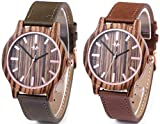 Marino Mens Leather Wooden Watch - Wrist Watches for Men - Dress Wood Watch - Green/Brown - Leather Band