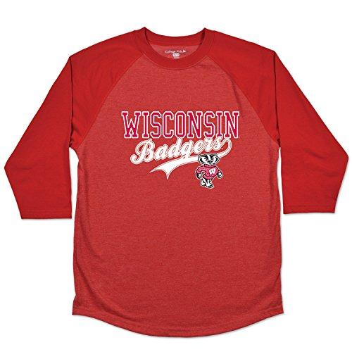 College Kids NCAA Wisconsin Badgers Youth Home Run Raglan Tee, Size 10-12/Medium, - Shorts Badger Cotton