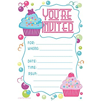 Amazon cupcake theme birthday party invitations fill in style cupcake theme birthday party invitations fill in style 20 count with envelopes by stopboris Gallery