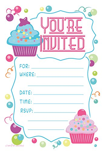 Cupcake Theme Birthday Party Invitations - Fill In Style (20 Count) With Envelopes by m&h invites