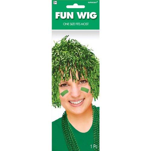 Fun Tinsel Wig Funny Costume Party Headwear, Green, Foil, 10