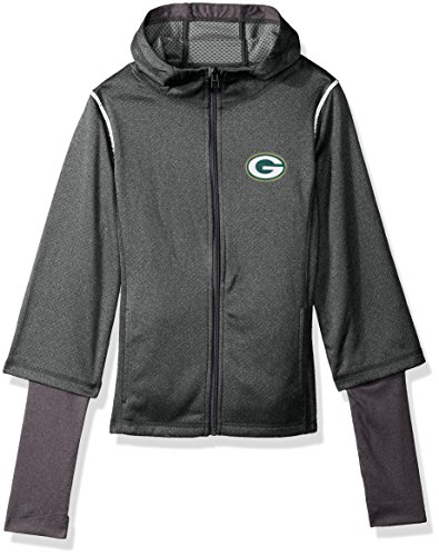 """Outerstuff NFL Girls 7-16""""Equinox Layered Funnel Neck Jacket-Steel Grey-L(14), Green Bay Packers"""